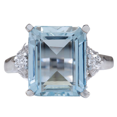 4.72 Carat Natural Aquamarine 14K White Gold Diamond Ring - Fashion Strada
