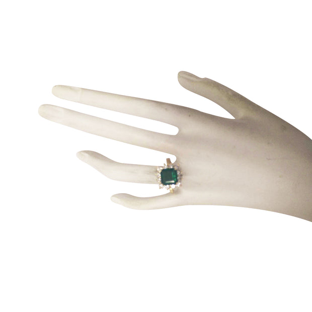 4.40 Carat Natural Emerald 14K Yellow Gold Diamond Ring - Fashion Strada
