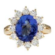4.33 Carat Natural Tanzanite 14K Yellow Gold Diamond Ring - Fashion Strada