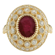 3.64 Carat Natural Ruby 14K Yellow Gold Diamond Ring - Fashion Strada