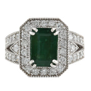 3.58 Carat Natural Emerald 14K White Gold Diamond Ring - Fashion Strada