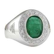 3.15 Carat Natural Emerald 14K White Gold Diamond Ring - Fashion Strada