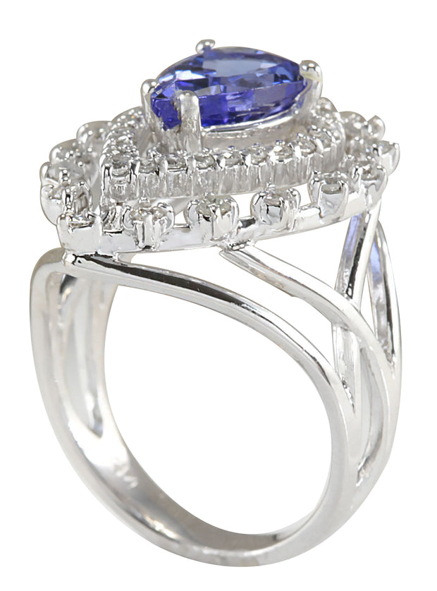 2.74 Carat Natural Tanzanite 14K White Gold Diamond Ring - Fashion Strada