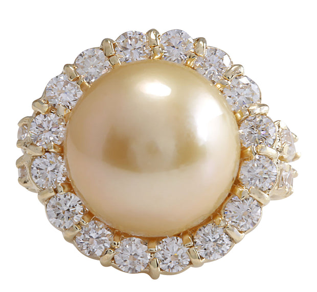 2.00 Carat Natural 13.18 mm South Sea Pearl 14K Yellow Gold Diamond Ring - Fashion Strada