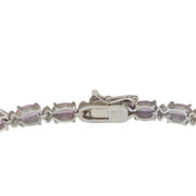 14.10 Carat Natural Sapphire 14K White Gold Diamond Bracelet - Fashion Strada