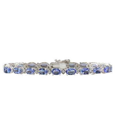 11.35 Carat Natural Tanzanite 14K White Gold Diamond Bracelet - Fashion Strada