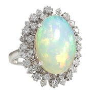 11.10 Carat Natural Opal 14K White Gold Diamond Ring - Fashion Strada