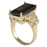 10.65 Carat Natural Tourmaline 14K Yellow Gold Diamond Ring