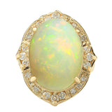 10.50 Carat Natural Opal 14K Yellow Gold Diamond Ring