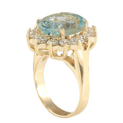 10.48 Carat Natural Aquamarine 14K Yellow Gold Diamond Ring