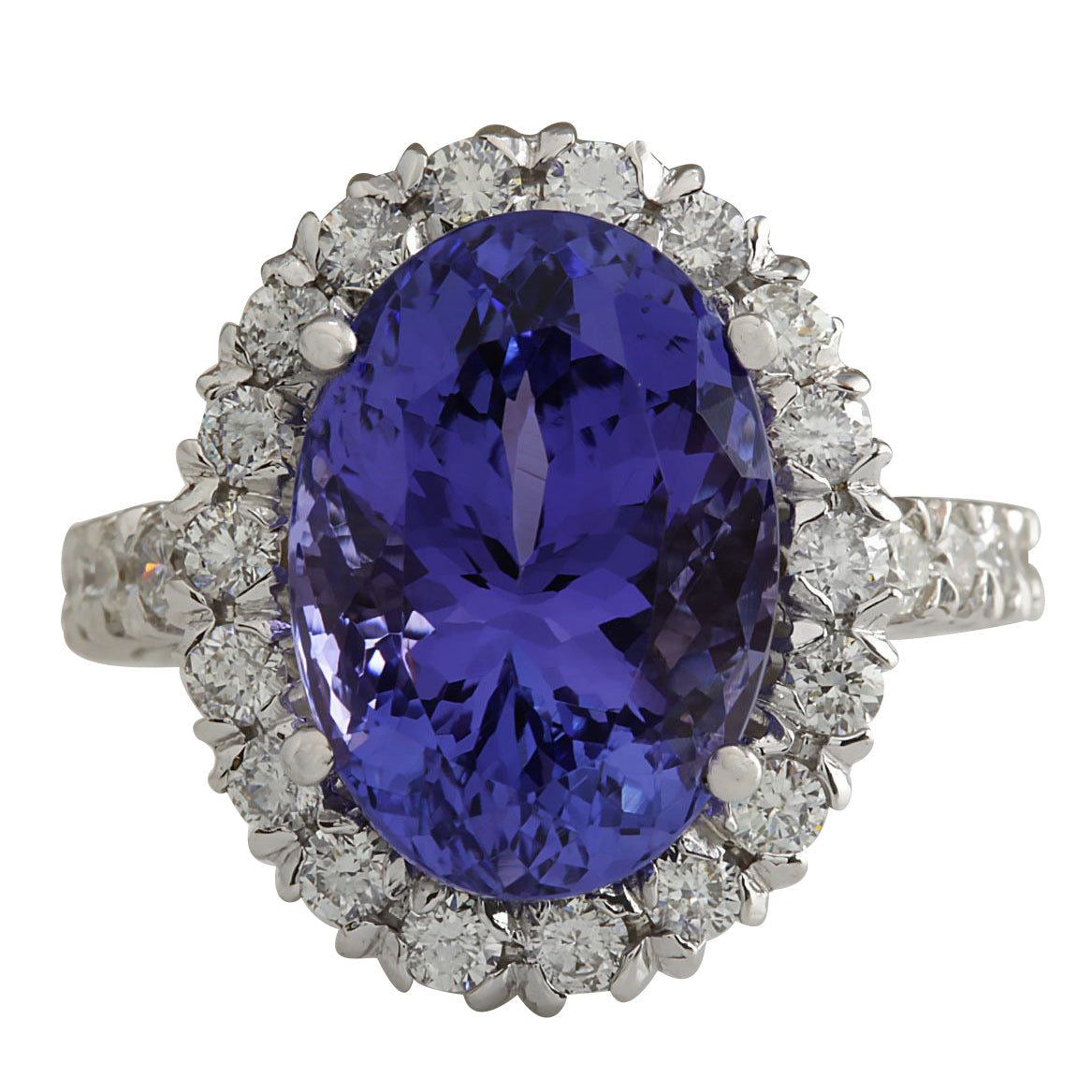 10.24 Carat Natural Tanzanite 18K White Gold Diamond Ring
