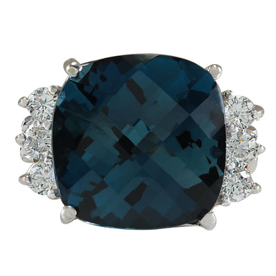 10.00 Carat Natural Topaz 14K White Gold Diamond Ring