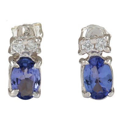 1.72 Carat Natural Tanzanite 14K White Gold Diamond Earrings - Fashion Strada