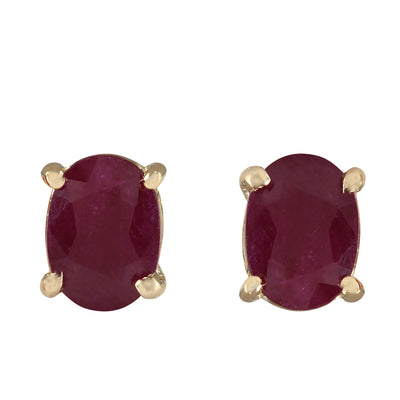 1.80 Carat Natural Ruby 14K Yellow Gold Earrings - Fashion Strada