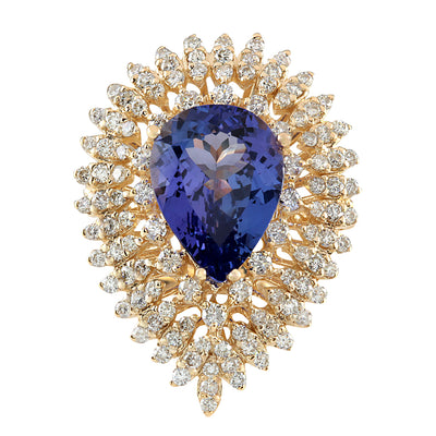 6.31 Carat Natural Tanzanite 14K Yellow Gold Diamond Ring