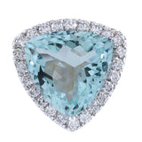 10.26 Carat Natural Aquamarine 14K White Gold Diamond Ring