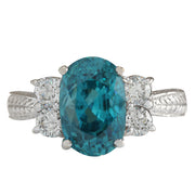7.07 Carat Natural Zircon 14K White Gold Diamond Ring - Fashion Strada