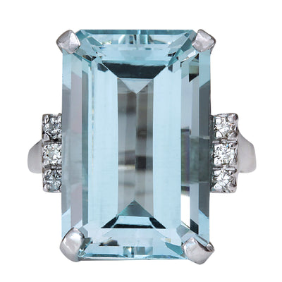 16.42 Carat Natural Aquamarine 14K White Gold Diamond Ring - Fashion Strada