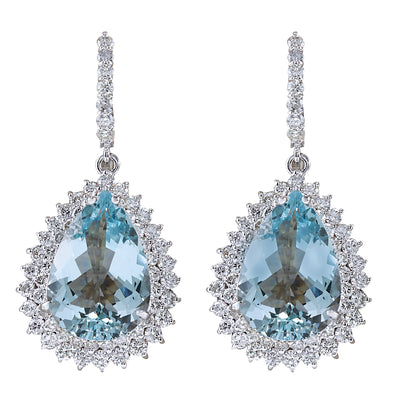 23.90 Carat Natural Aquamarine 14K White Gold Diamond Earrings - Fashion Strada
