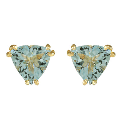 2.11 Carat Natural Aquamarine 14K Yellow Gold Earrings - Fashion Strada