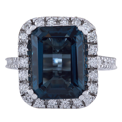10.91 Carat Natural Topaz 14K White Gold Diamond Ring