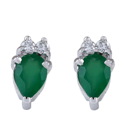 1.82 Carat Natural Emerald 14K White Gold Diamond Earrings - Fashion Strada