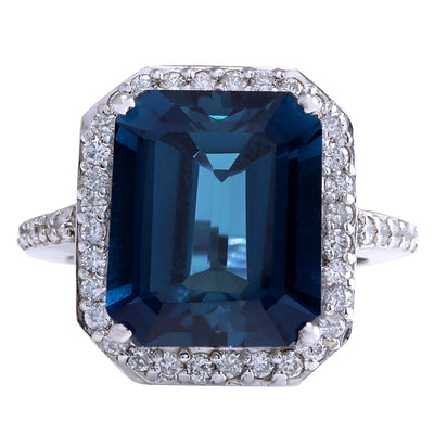 10.73 Carat Natural Topaz 14K White Gold Diamond Ring