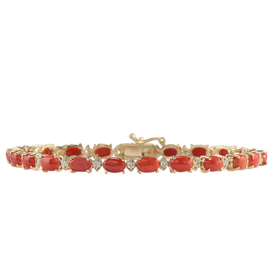 8.77 Carat Natural Coral 14K Yellow Gold Diamond Bracelet