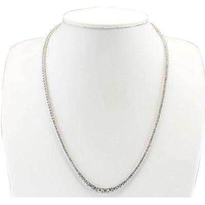 7.55 Carat Natural E-F VVS Diamond Necklace In 14K White Gold - Fashion Strada