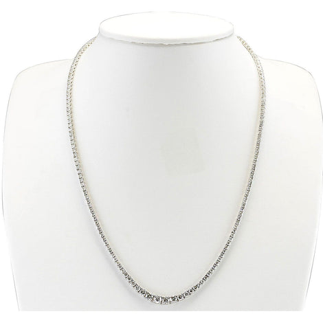7.55CTW Natural Diamond Necklace In 14K White Gold - Fashion Strada