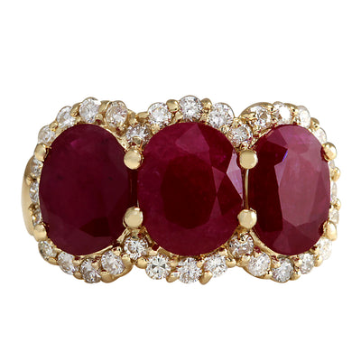 6.82 Carat Natural Ruby 14K Yellow Gold Diamond Ring - Fashion Strada