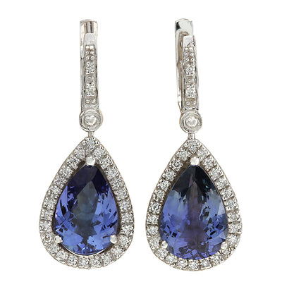6.65 Carat Natural Tanzanite 14K White Gold Diamond Earrings - Fashion Strada