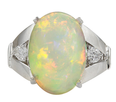 6.12 Carat Natural Opal 14K White Gold Diamond Ring