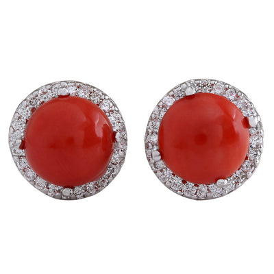 5.89 Carat Natural Coral 14K White Gold Diamond Earrings - Fashion Strada