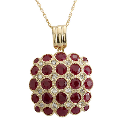 5.61 Carat Natural Ruby 14K Yellow Gold Diamond Necklace