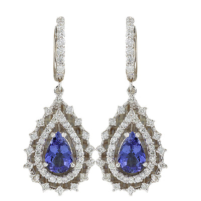5.27 Carat Natural Tanzanite 14K White Gold Diamond Earrings - Fashion Strada