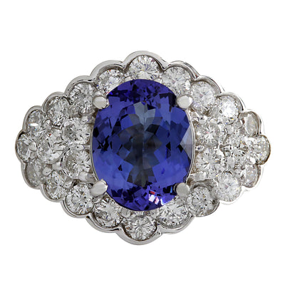 5.12 Carat Natural Tanzanite 14K White Gold Diamond Ring