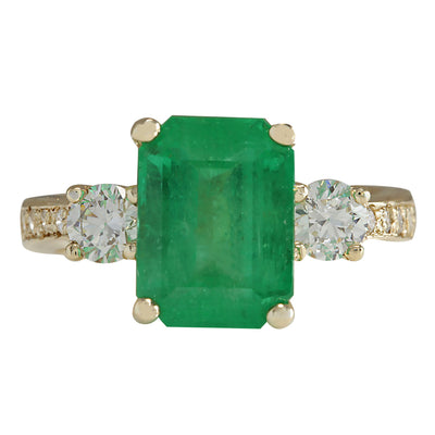 4.70 Carat Natural Emerald 14K Yellow Gold Diamond Ring - Fashion Strada