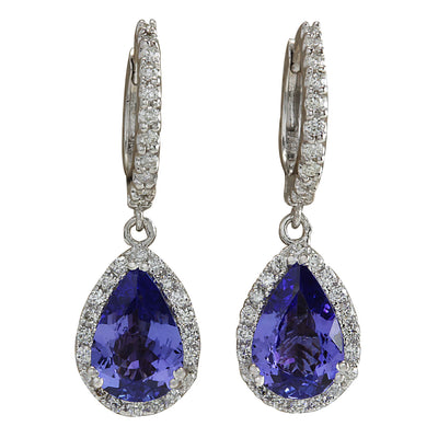 3.94 Carat Natural Tanzanite 14K White Gold Diamond Earrings - Fashion Strada