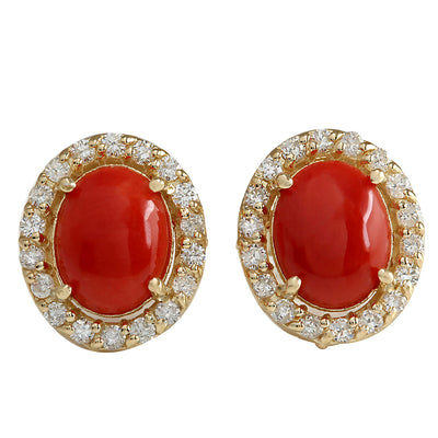 3.10 Carat Natural Coral 14K Yellow Gold Diamond Earrings - Fashion Strada