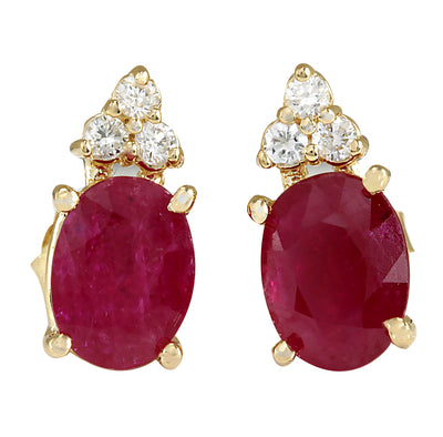 3.10 Carat Natural Ruby 14K Yellow Gold Diamond Earrings - Fashion Strada