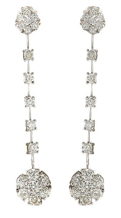 2.10 Carat Natural Diamond 14K White Gold Earrings - Fashion Strada