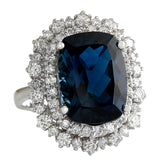 14.32 Carat Natural Topaz 14K White Gold Diamond Ring