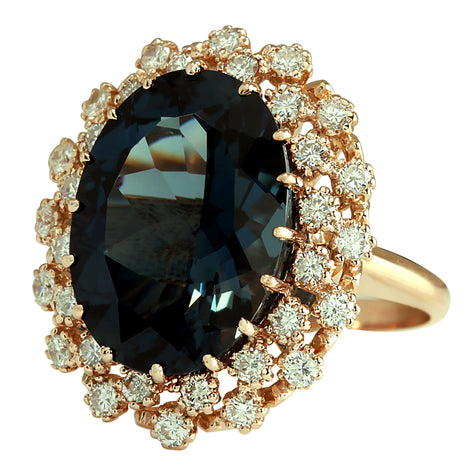 14.31 Carat Natural Topaz 14K Rose Gold Diamond Ring