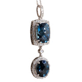 14.19 Carat Natural Topaz 14K White Gold Diamond Necklace