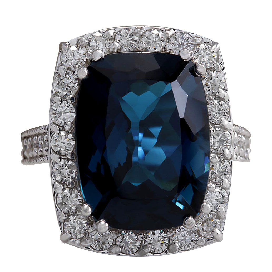 13.24 Carat Natural Topaz 14K White Gold Diamond Ring