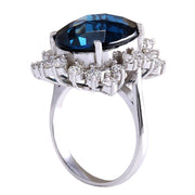 12.99 Carat Natural Topaz 14K White Gold Diamond Ring