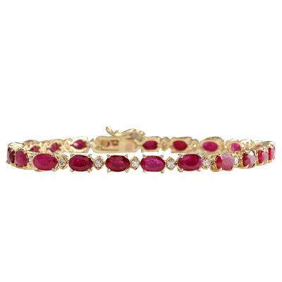 11.95 Carat Natural Ruby 14K Yellow Gold Diamond Bracelet - Fashion Strada