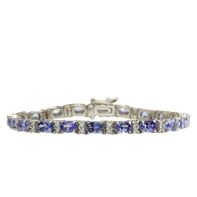 11.01 Carat Natural Tanzanite 14K White Gold Diamond Bracelet