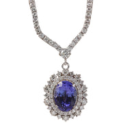 10.28 Carat Natural Tanzanite 14K White Gold Diamond Necklace